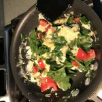 Gently scramble the egg and spinach mixture