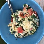 Delicious and beautiful scrambled eggs and spinach