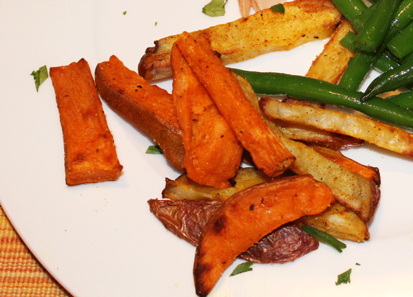 Air Fried White and Sweet Potatoes