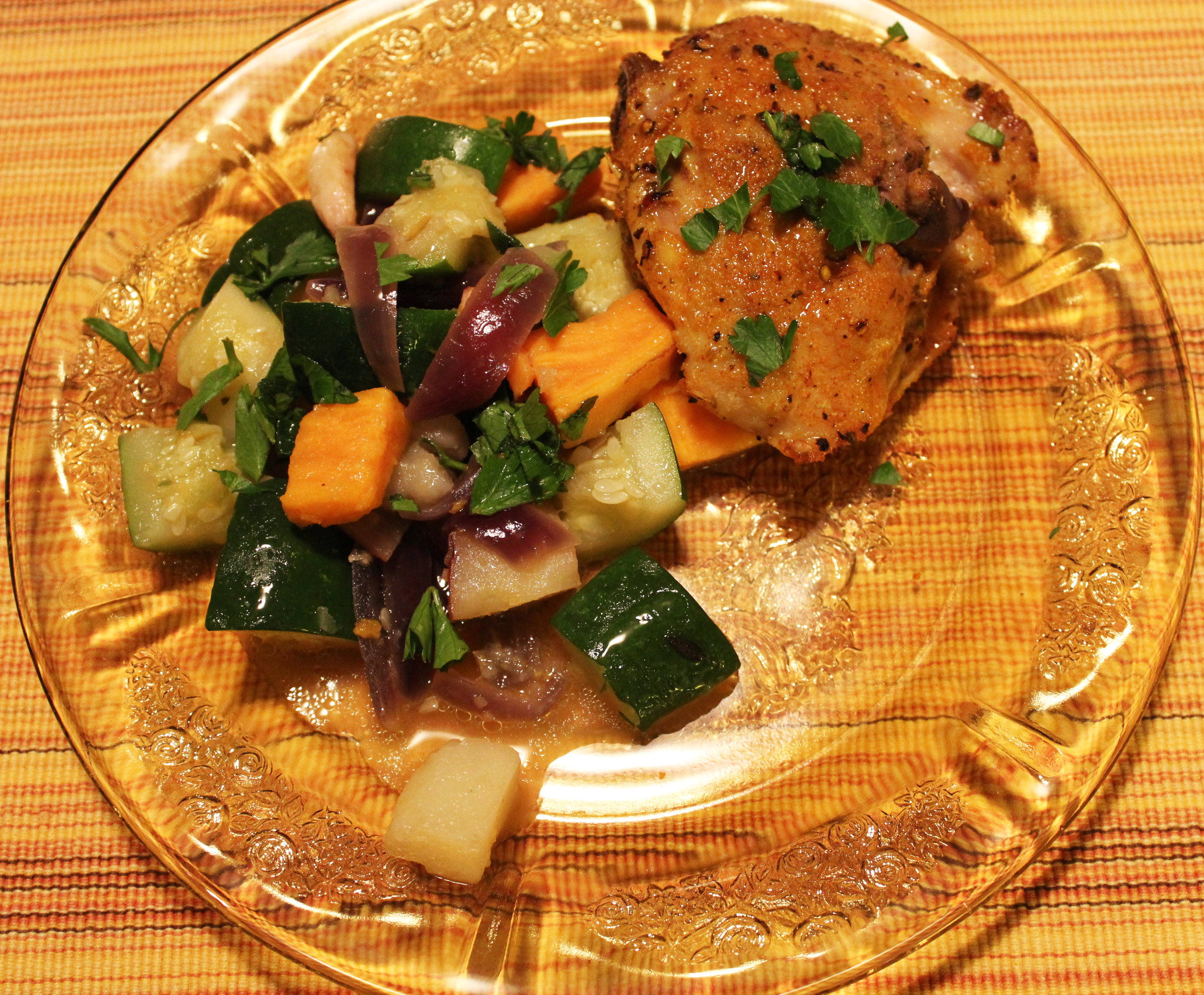 roasted chicken thighs and steamed vegetables