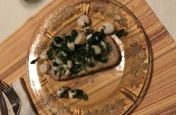 Garlicky Scallops and Spinach on Toast