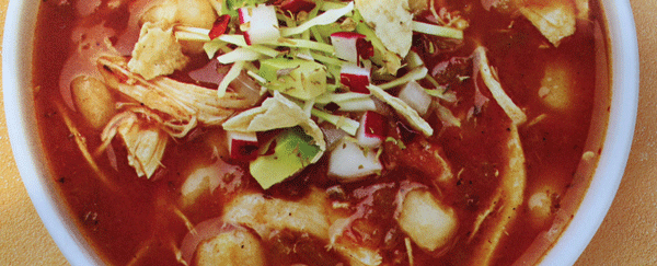 Bowl of mexican pozole