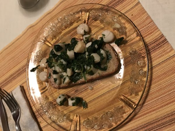 Image of scallops and spinach on toast