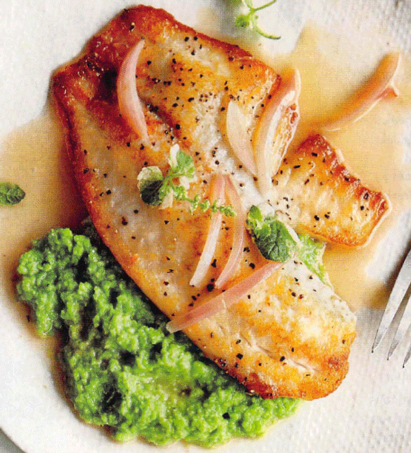 Pan Seared Tilapia with Sweet Pea Puree