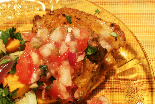 adobo chicken with pico de gallo
