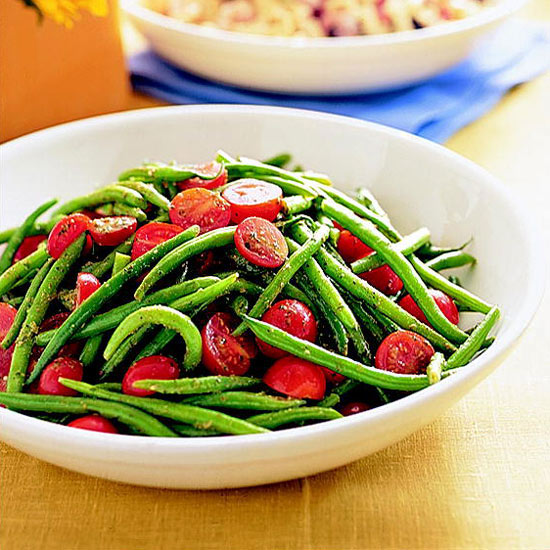 Pesto Green Beans and Tomatoes