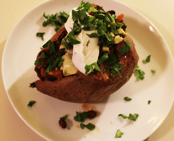 Black Bean and Salsa Stuffed Sweet Potatoes