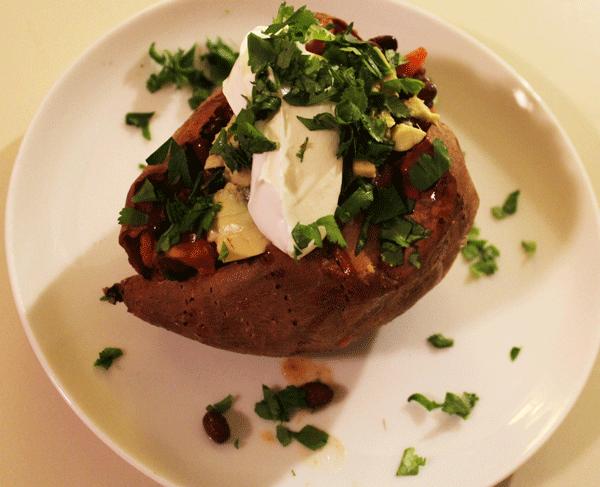 Black Bean and Salsa Stuffed Sweet Potatoes